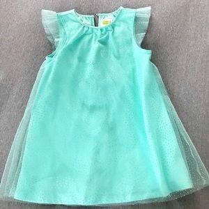 Kids Teal Sheer Sparkling Dress